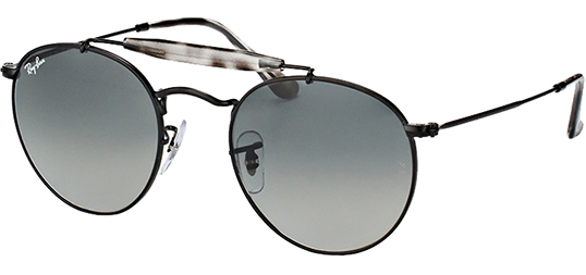 Ray-Ban Men's Vintage Round Black Sunglasses with Gradient Lens (RB3747 153 7150)